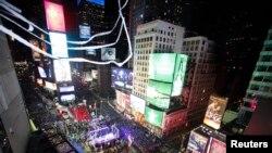 美国纽约时报广场上中国的宣传广告不断增加。(资料照片)