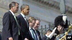 성 패트릭의 날 의회 지도자들을 만나는 오바마 대통령