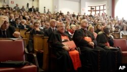 Participants are seen at a conference on the Latin Mass at the Pontifical University of St. Thomas Aquinas in Rome, Italy, Sept. 14, 2017.