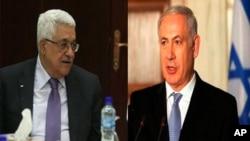 اسرائیلی وزیر آعظم بنجامن نتنیاہو (دائیں) اور فلسطینی صدر محمود عباس