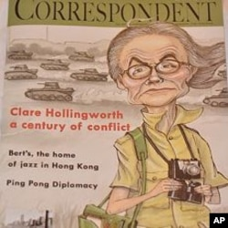 Clare Hollingworth on the cover of the FCC's magazine in honor of her 100th birthday.