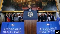 El presidente Obama habló en el Faneuil Hall de Boston, en Massachusetts.