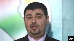"""""""伊拉克名单""""的发言人阿尔-穆拉议员在记者会上"""