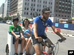 Grant Gaudry is an artist, but he pays his expenses by driving a pedicab in Washington, DC.