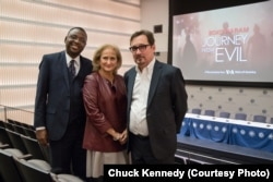"(L to R): Ibrahim Ahmed, Managing Editor of VOA Hausa Service Mobile Stream, Beth Mendelson, VOA Senior Executive Producer, and Tom Detzel, VOA Investigative Editor at the screening of ""Boko Haram: Journey From Evil"" at USIP, November 2, 2017."