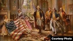 نقاشی ادوارد پرسی در سال ۱۹۱- بتسی راس پرچم را به جرج واشنگتن نشان می دهد. (منبع:کتابخانه کنگره آمریکا)