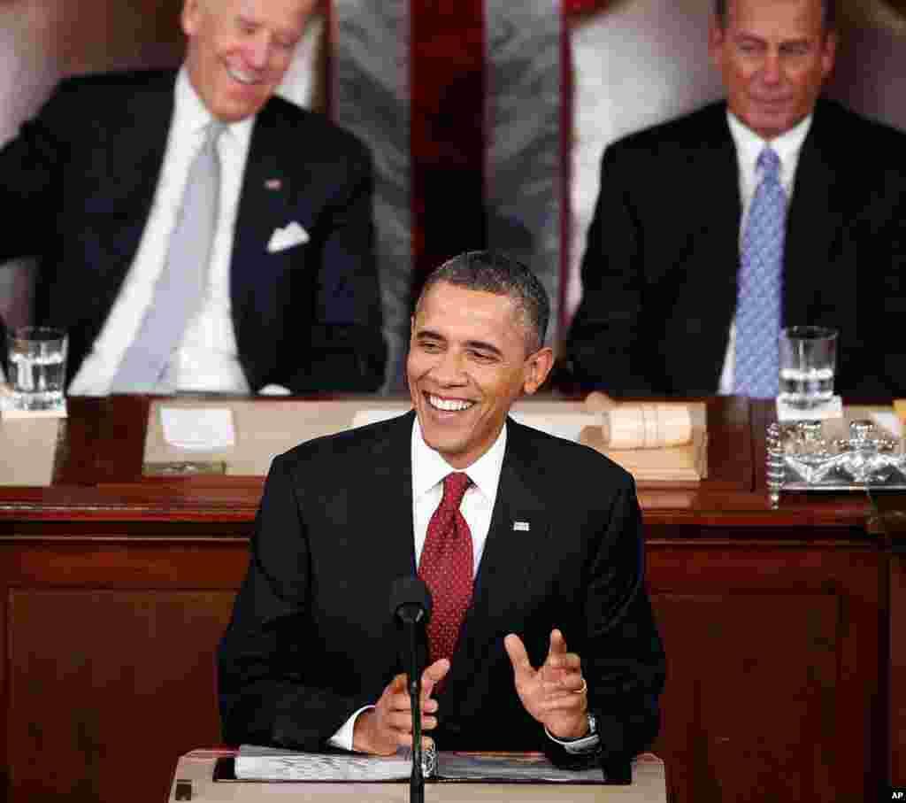 """奥巴马总统说,现在是恢复""""美国价值观""""的时候了,同时他还为今年提出了几项提案。(AP)"""