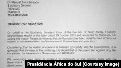 Presidência da África do Sul responde à Renamo