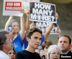 David Hogg, a senior at Marjory Stoneman Douglas High School, speaks at a rally calling for more gun control three days after the shooting at his school, in Fort Lauderdale, Florida, U.S., February 17, 2018. REUTERS/Jonathan Drake