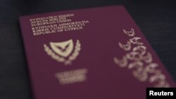 This photo taken on Oct. 12, 2019, shows a Cypriot passport.