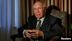 FILE - Adviser to the Pakistani Prime Minister on Foreign Affairs and National Security Sartaj Aziz