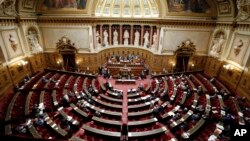 FILE - A view of France's Senate before a vote, Dec. 11, 2014. On Sunday, France will elect nearly half its Senate, in a vote that is expected to illustrate the slide in President Emmanuel Macron's popularity since his election earlier this year.