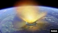 Художнє зображення входження метеорита в атмосферу
