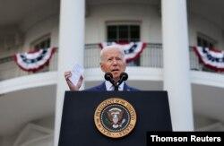 El presidente de Estados Unidos, Joe Biden, pronuncia un discurso en la Casa Blanca durante la celebración del Día de la Independencia en Washington, el 4 de julio de 2021.