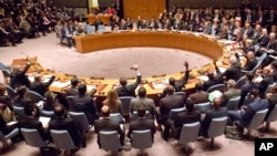 FILE - U.N. Security Council meeting