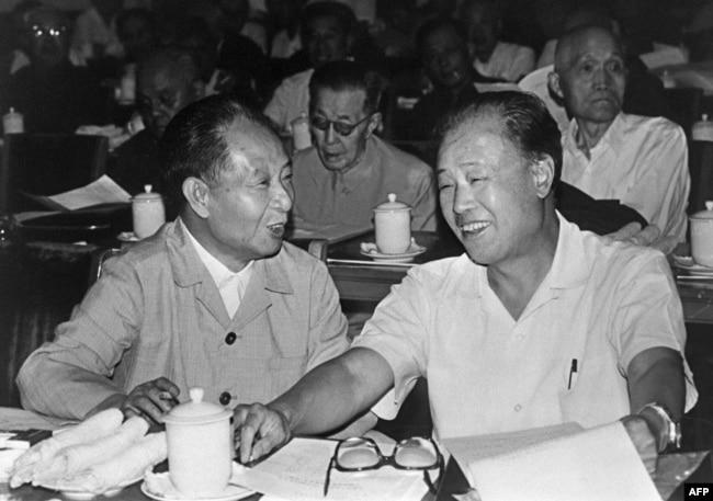 1982年9月9日胡耀邦和中国总理赵紫阳(右)在北京。