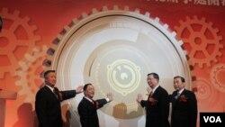 中国机电商会台北办事处成立记者会 (美国之音张永泰拍摄)