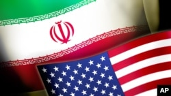 미국의 성조기와 이란 국기. (그래픽)