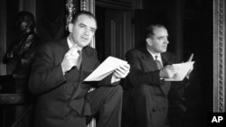 Sen. Joseph McCarthy (R-Wisc.) poses in Washington on March 23, 1950 after calling for the release of loyalty files of State department employees accused by McCarthy of pro-Communist leanings.