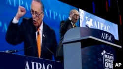 Senate Minority Leader Charles Schumer of N.Y. speaks at the 2017 American Israel Public Affairs Committee (AIPAC) Policy Conference, March 28, 2017, at the Washington Convention Center in Washington.