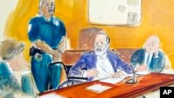 法庭素描顯示韋恩斯坦在曼哈頓的法庭做量刑陳述時面向坐在前排的受害者。 (2020年3月11日)