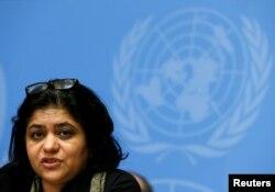 유엔 독립 전문가그룹의 사라 후세인 변호사가 13일 제네바 유엔본부에서 열린 인권이사회 북한인권상호대화에서 발언하고 있다.