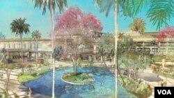 El dibujo ilustra parte de los jardines que darán un nuevo rostro al Hialeah Park.