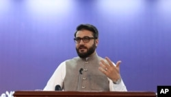 Afghanistan's National Security Adviser Hamdullah Mohib speaks during a news conference in Kabul, Afghanistan, Oct. 29, 2019.