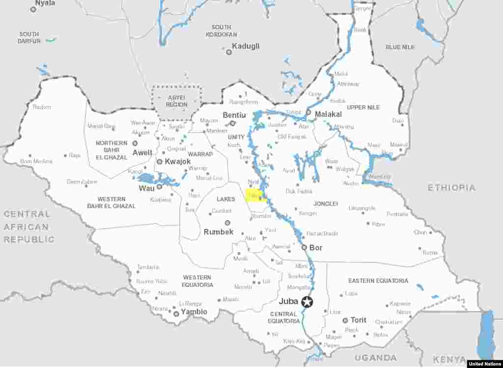 World Food Program Executive Director Ertharin Cousin visited the town of Ganyiel (highlighted in yellow) and an island in the nearby Sudd marshes during a visit to Unity state in South Sudan on Saturday, March 21, 2015.