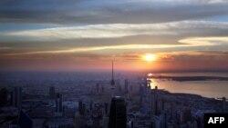 عکس آرشیوی از غروب آفتاب در کویت سیتی، پایتخت کویت