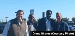 Congressman Thomas Garrett, from left, meets with Pastor Hassan Abduraheem, another Sudanese pastor, Robert Johansen, Adburaheem's new pastor at Tar Wallet Baptist Church.