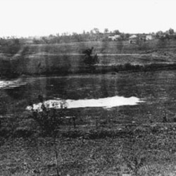 A Civil War-era photo of the Kenmore Avenue Canal, looking west from Fredericksburg, Virginia