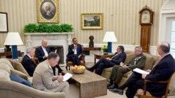 پرزیدنت اوباما و گروه امنیت ملی کاخ سفید در ملاقات با سفیر جدید آمریکا در افغانستان