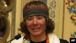 Jordan Romero speaks to reporters in Katmandu, Nepal. (File Photo - May 27, 2010)