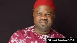 Chris Isiguzo, président de l'Union des journalistes du Nigeria, à Abuja, le 10 Mai 2020. (VOA/Gilbert Tamba)