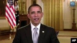 Presiden Amerika Barack Obama dalam pidato mingguannya dari Gedung Putih (Foto: dok).