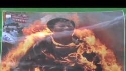 流亡藏人鼓励儿童向自焚抗议者致敬