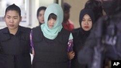 Cô Đoàn Thi Hương khi ra tòa hồi cuối tháng 6/2018