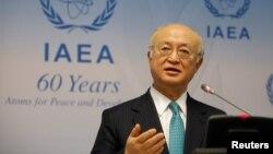 Dirjen Badan Energi Atom Internasional (IAEA), Yukiya Amano berbicara di Wina, Austria, Senin (6/3).