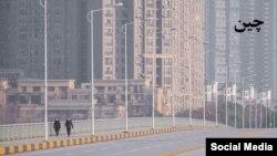 中國某街道上行人稀少