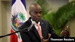 El presidente de Haití, Jovenel Moise, habla durante una conferencia de prensa sobre las medidas relativas al coronavirus, en Puerto Príncipe. [Foto: Archivo]
