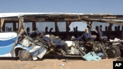 The tour bus that was involved in an accident in Abu Simbel, Aswan about 879 km (546 miles) south of Cairo, is seen 26 Dec 2010.