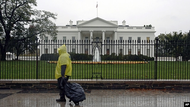 The White House in Washington, Oct. 29,2012, during the approach of Hurricane Sandy.