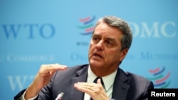 World Trade Organization (WTO) Director-General Roberto Azevedo speaks at a news conference after a two-day General Council meeting at the WTO headquarters in Geneva, Switzerland, December 10, 2019. REUTERS/Denis Balibouse