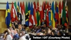 La 107e session de la CITravail a adopté les conclusions du rapport de la Commission sur la violence et le harcèlement contre les femmes et les hommes dans le monde du travail, à Genève, 8 juin 2018. (Twitter/OIT)