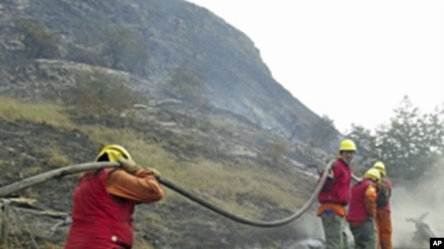 Firefighters fight a massive forest fire in Torres de Paine National Park, Chile,  Dec. 30, 2011