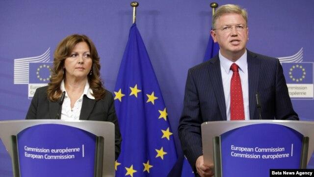 Potpredsednica Vlade Srbije za evropske integracije Suzana Grubješić i Evropski komesar za proširenje Štefan File u Briselu