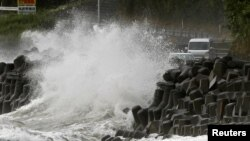 High waves triggered by Typhoon Haishen crash against the coast in Kagoshima, Kagoshima prefecture, in southwestern Japan Sept. 6, 2020, in this photo taken by Kyodo.