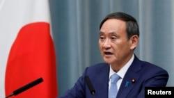 日本官房長官菅義偉2019年9月11日在東京的一次記者會上講話。