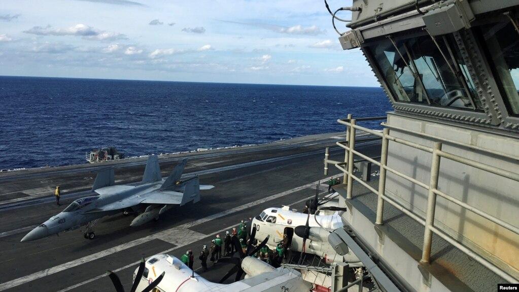 Hàng không mẫu hạm USS Ronald Reagan tiến hành các cuộc thao dượt quân sự trong cuộc diễn tập Keen Sword cùng với lực lượng của Nhật Bản và Canada, ngày 3 tháng 11, 2018.